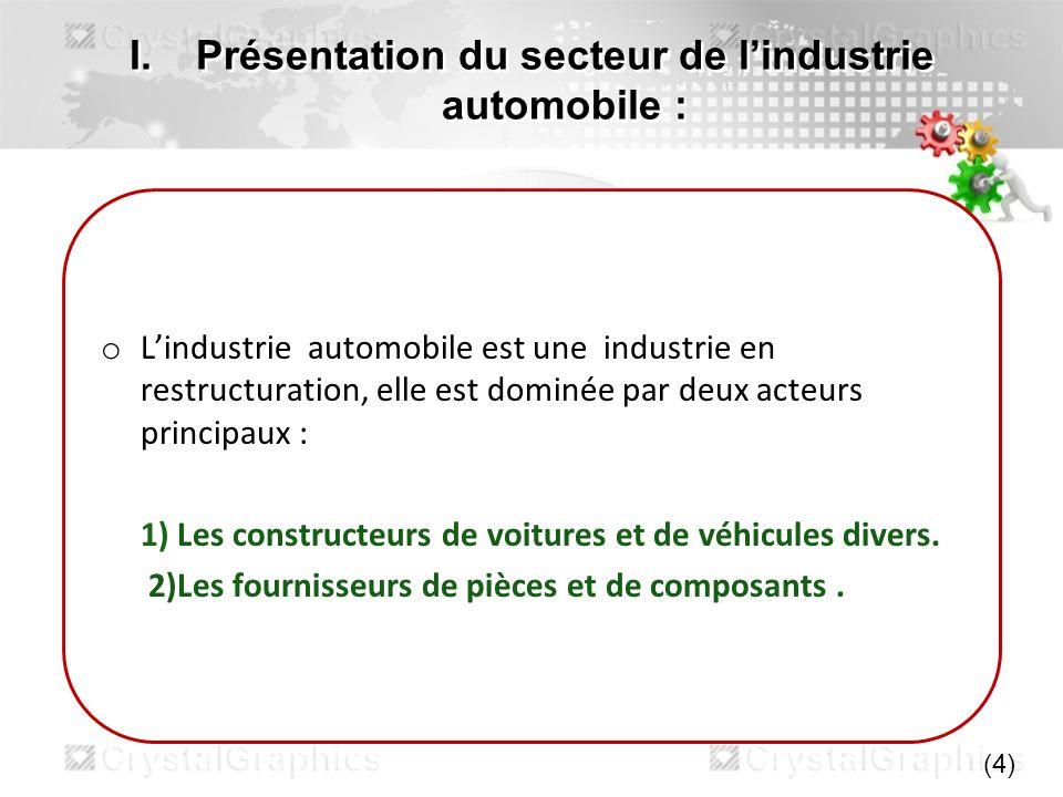 I.Présentation du secteur de lindustrie automobile : o Lindustrie automobile est une industrie en restructuration, elle est dominée par deux acteurs p