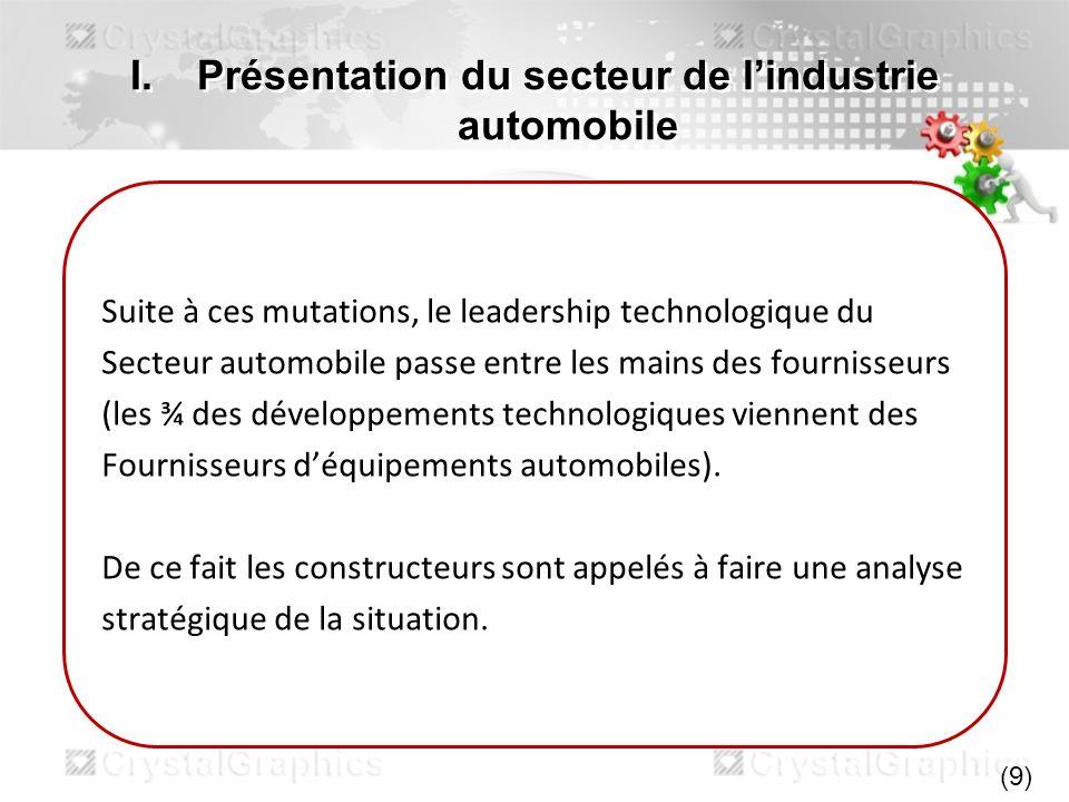 I.Présentation du secteur de lindustrie automobile Suite à ces mutations, le leadership technologique du Secteur automobile passe entre les mains des