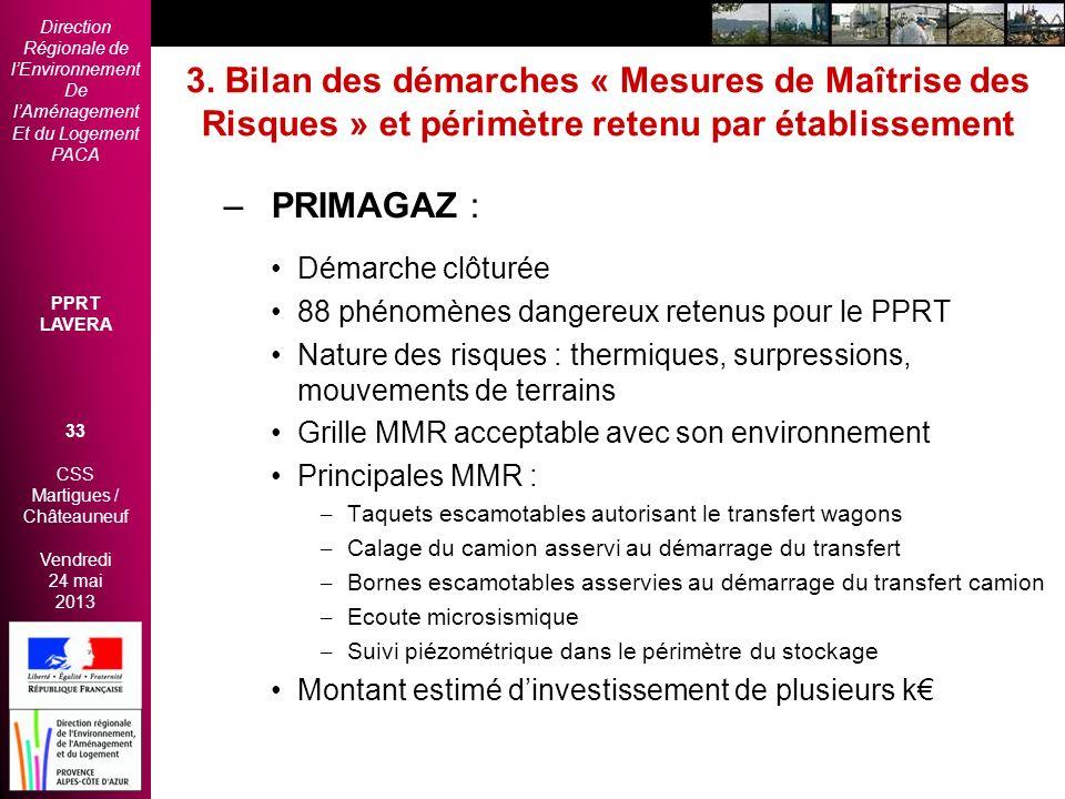 Direction Régionale de lEnvironnement De lAménagement Et du Logement PACA PPRT LAVERA 33 CSS Martigues / Châteauneuf Vendredi 24 mai 2013 2èmes Rencon