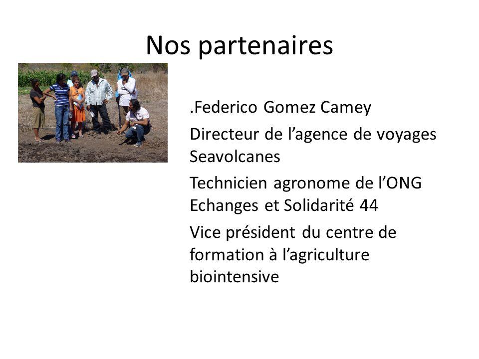 Nos partenaires.Federico Gomez Camey Directeur de lagence de voyages Seavolcanes Technicien agronome de lONG Echanges et Solidarité 44 Vice président du centre de formation à lagriculture biointensive
