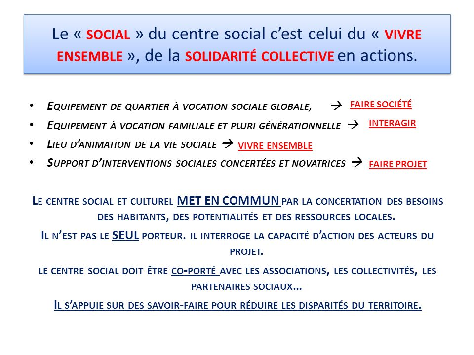 Le « SOCIAL » du centre social cest celui du « VIVRE ENSEMBLE », de la SOLIDARITÉ COLLECTIVE en actions. E QUIPEMENT DE QUARTIER À VOCATION SOCIALE GL