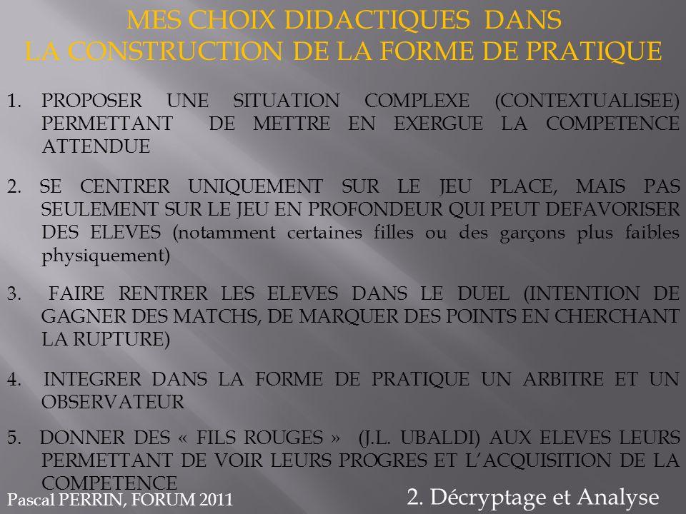 MES CHOIX DIDACTIQUES DANS LA CONSTRUCTION DE LA FORME DE PRATIQUE 2. Décryptage et Analyse 1.PROPOSER UNE SITUATION COMPLEXE (CONTEXTUALISEE) PERMETT