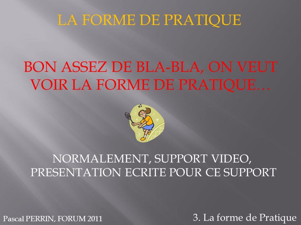 BON ASSEZ DE BLA-BLA, ON VEUT VOIR LA FORME DE PRATIQUE… LA FORME DE PRATIQUE 3. La forme de Pratique Pascal PERRIN, FORUM 2011 NORMALEMENT, SUPPORT V