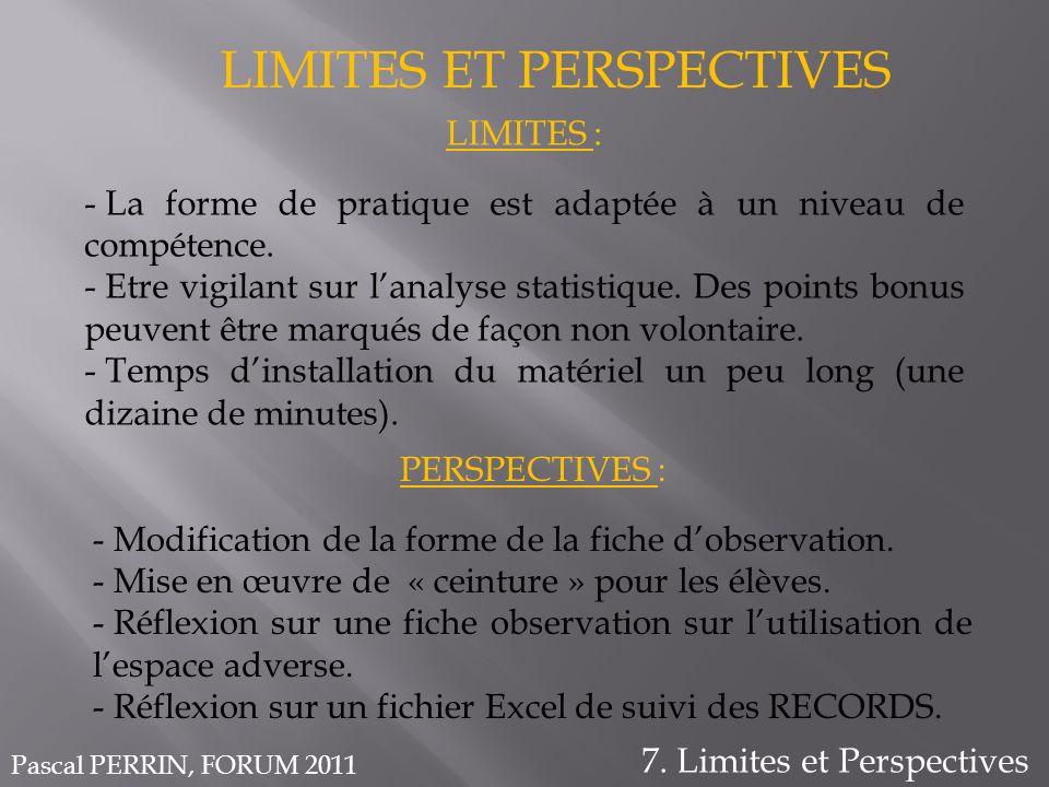 LIMITES ET PERSPECTIVES 7. Limites et Perspectives LIMITES : - La forme de pratique est adaptée à un niveau de compétence. - Etre vigilant sur lanalys