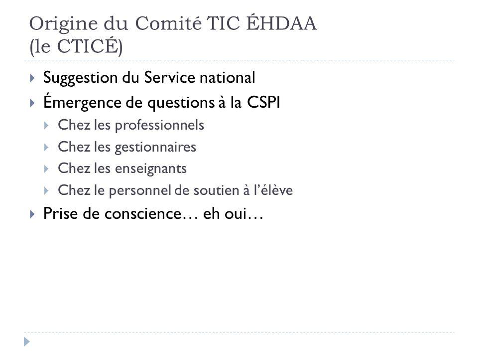 Origine du Comité TIC ÉHDAA (le CTICÉ) Suggestion du Service national Émergence de questions à la CSPI Chez les professionnels Chez les gestionnaires