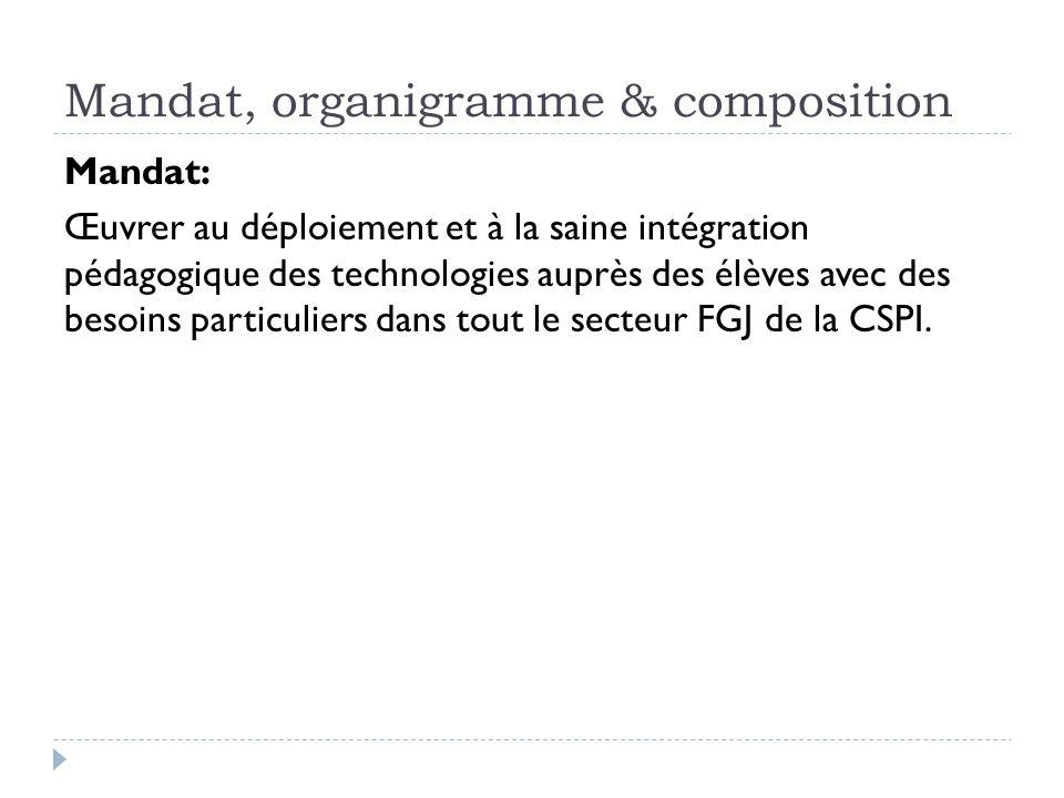 Mandat, organigramme & composition Mandat: Œuvrer au déploiement et à la saine intégration pédagogique des technologies auprès des élèves avec des bes