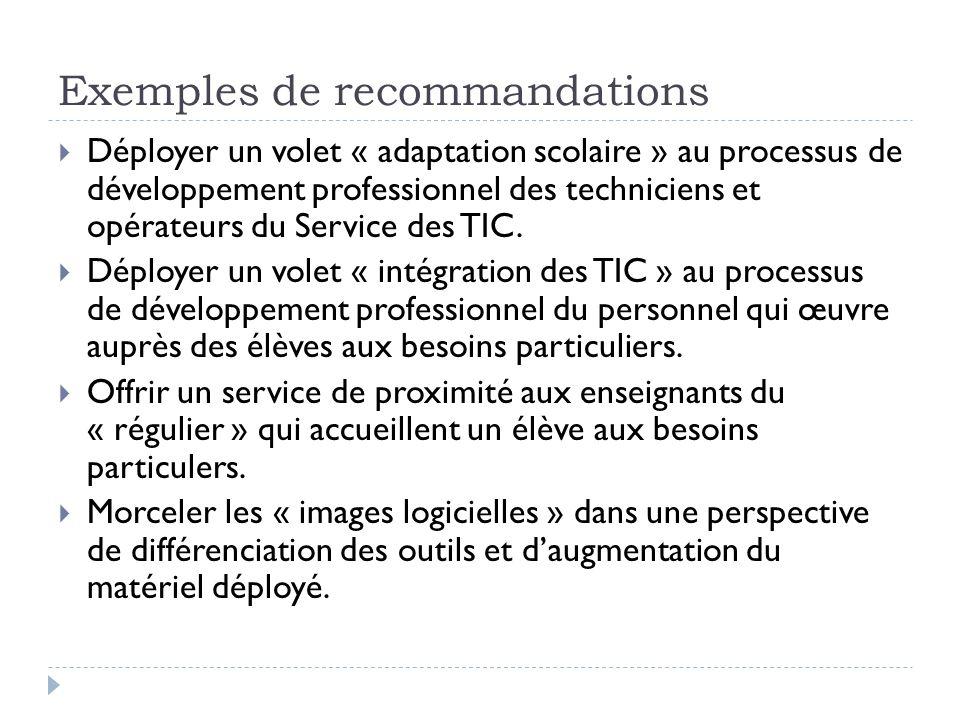 Exemples de recommandations Déployer un volet « adaptation scolaire » au processus de développement professionnel des techniciens et opérateurs du Ser