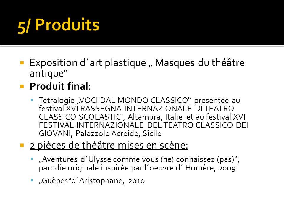 Exposition d´art plastique Masques du théâtre antique Produit final: Tetralogie VOCI DAL MONDO CLASSICO présentée au festival XVI RASSEGNA INTERNAZION