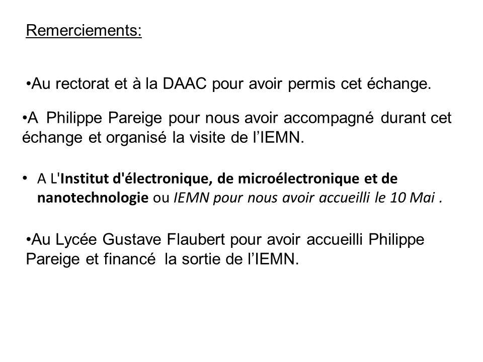 Remerciements: Au rectorat et à la DAAC pour avoir permis cet échange. Au Lycée Gustave Flaubert pour avoir accueilli Philippe Pareige et financé la s