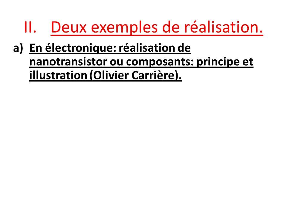 II.Deux exemples de réalisation. a)En électronique: réalisation de nanotransistor ou composants: principe et illustration (Olivier Carrière).