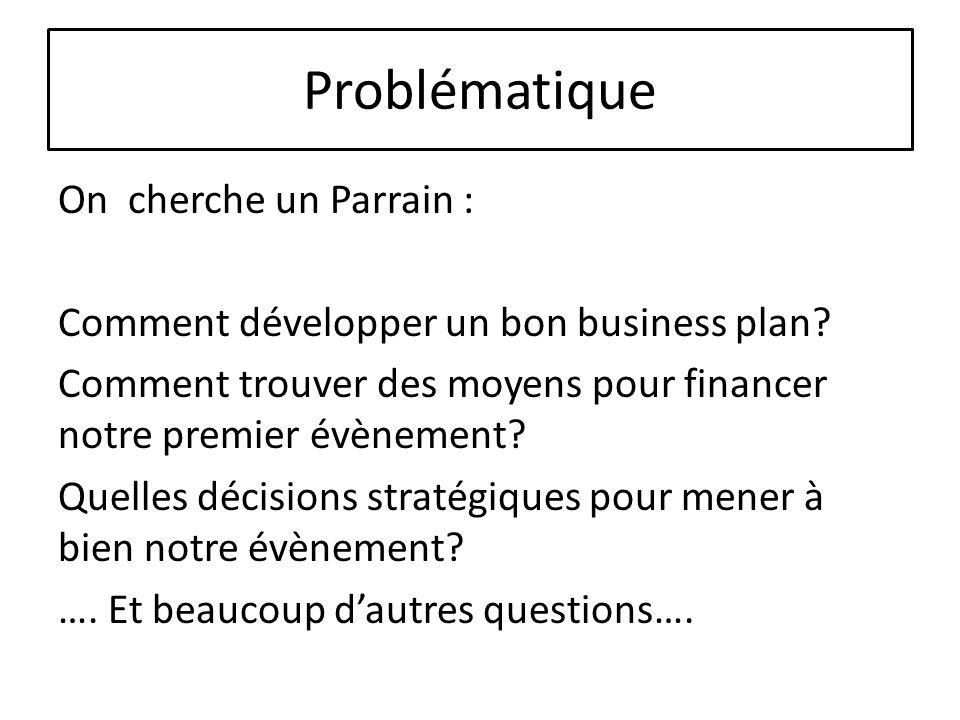 Problématique On cherche un Parrain : Comment développer un bon business plan? Comment trouver des moyens pour financer notre premier évènement? Quell