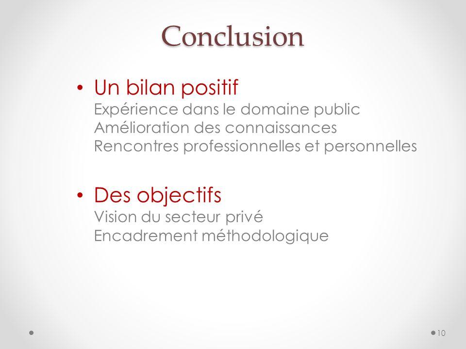 Un bilan positif Expérience dans le domaine public Amélioration des connaissances Rencontres professionnelles et personnelles Des objectifs Vision du