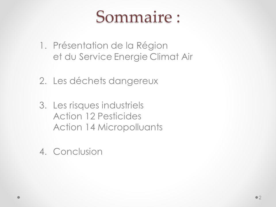Sommaire : 1.Présentation de la Région et du Service Energie Climat Air 2.Les déchets dangereux 3.Les risques industriels Action 12 Pesticides Action