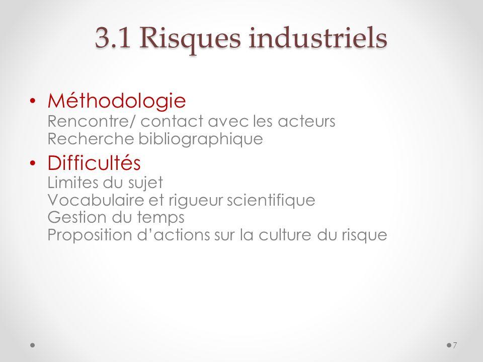 7 3.1 Risques industriels Méthodologie Rencontre/ contact avec les acteurs Recherche bibliographique Difficultés Limites du sujet Vocabulaire et rigue