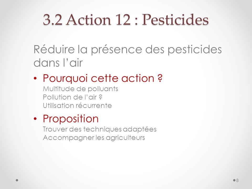Réduire la présence des pesticides dans lair Pourquoi cette action ? Multitude de polluants Pollution de lair ? Utilisation récurrente Proposition Tro