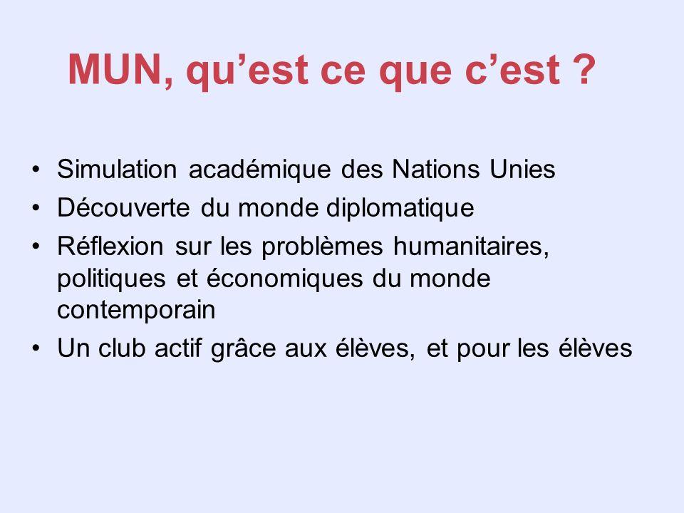 MUN, quest ce que cest ? Simulation académique des Nations Unies Découverte du monde diplomatique Réflexion sur les problèmes humanitaires, politiques