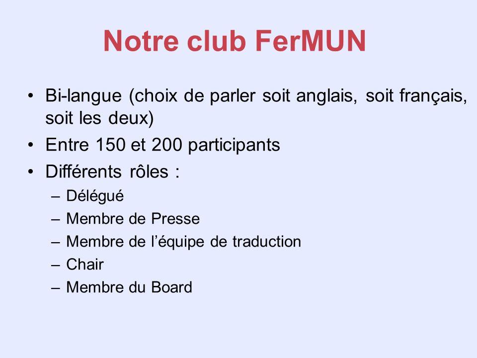 Notre club FerMUN Bi-langue (choix de parler soit anglais, soit français, soit les deux) Entre 150 et 200 participants Différents rôles : –Délégué –Me