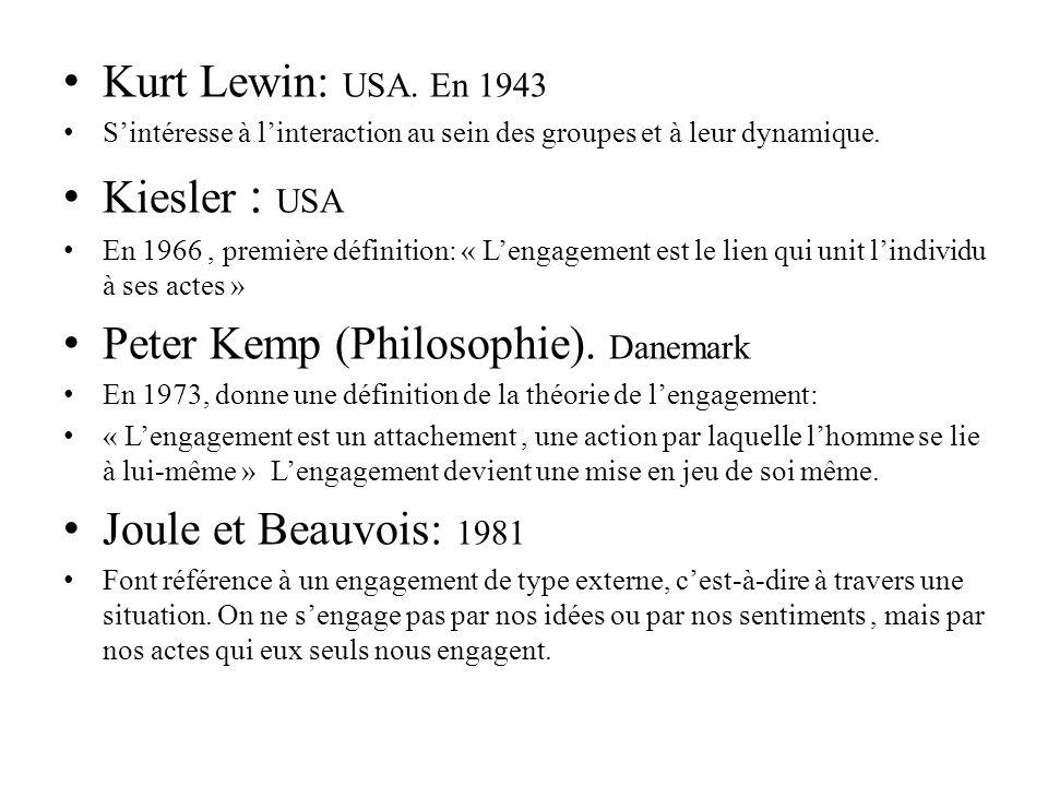 Kurt Lewin: USA. En 1943 Sintéresse à linteraction au sein des groupes et à leur dynamique. Kiesler : USA En 1966, première définition: « Lengagement