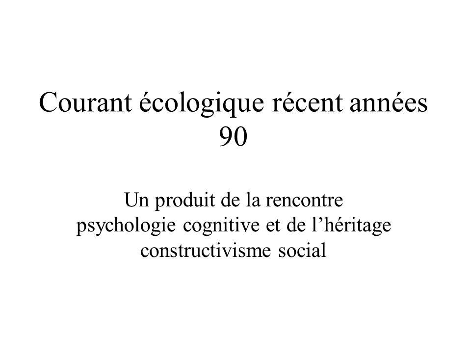 Courant écologique récent années 90 Un produit de la rencontre psychologie cognitive et de lhéritage constructivisme social