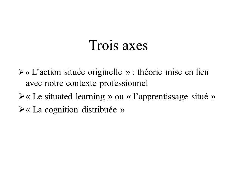 Trois axes « Laction située originelle » : théorie mise en lien avec notre contexte professionnel « Le situated learning » ou « lapprentissage situé »