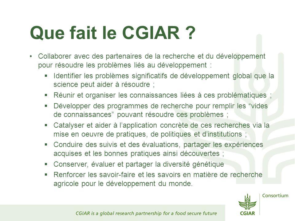 Que fait le CGIAR ? Collaborer avec des partenaires de la recherche et du développement pour résoudre les problèmes liés au développement : Identifier