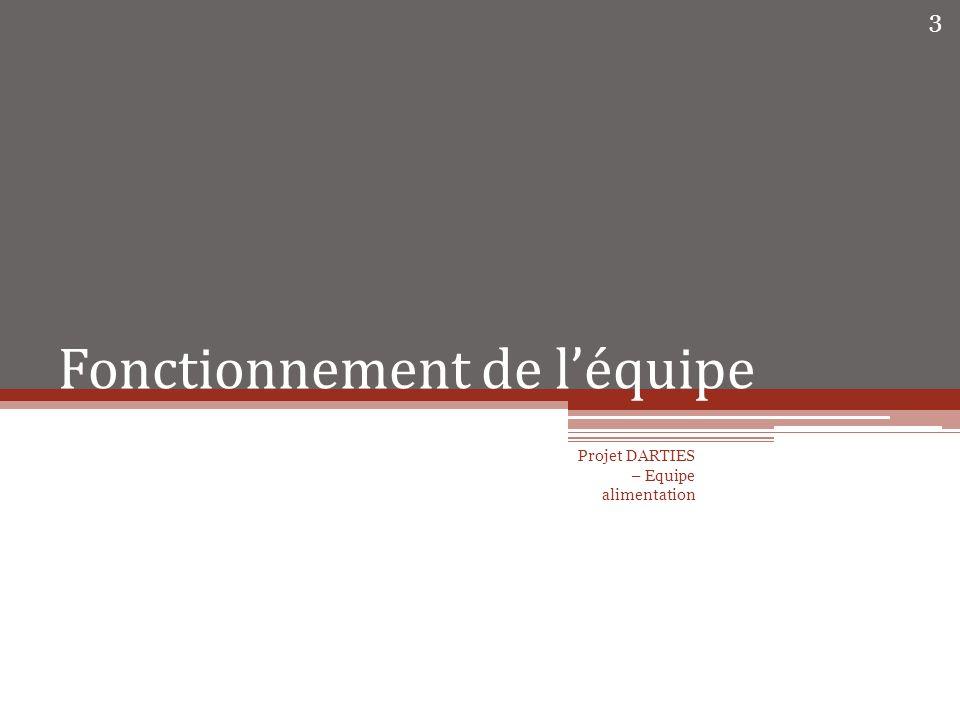 Fonctionnement général Réunion davancement / Travail en groupe Mise en commun du travail sur SVN 2 projets : Darties_mensuel Darties_annuel Projet DARTIES - Rapport de l équipe d alimentation 4