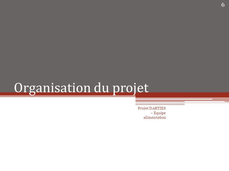 Organisation du projet Projet DARTIES – Equipe alimentation 6