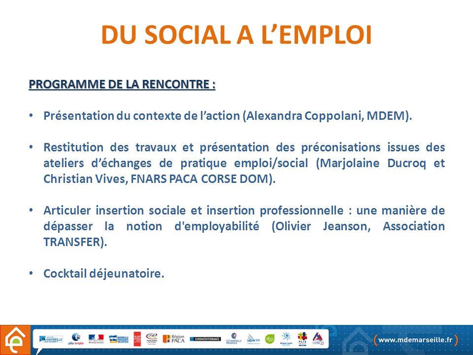 1- ELEMENTS DE CONTEXTE DU SOCIAL A LEMPLOI