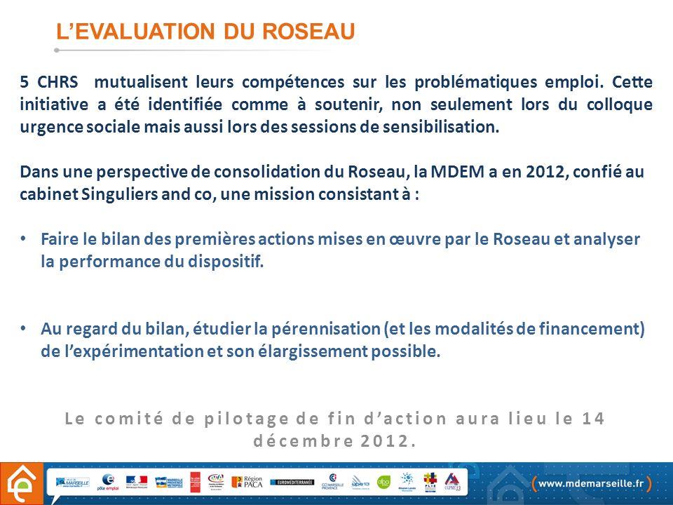 LEVALUATION DU ROSEAU 5 CHRS mutualisent leurs compétences sur les problématiques emploi. Cette initiative a été identifiée comme à soutenir, non seul