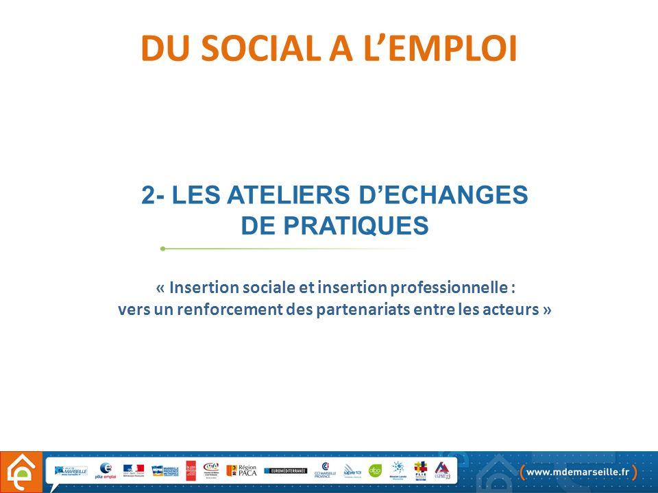 2- LES ATELIERS DECHANGES DE PRATIQUES DU SOCIAL A LEMPLOI « Insertion sociale et insertion professionnelle : vers un renforcement des partenariats en