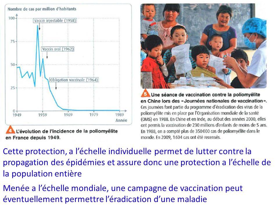 Cette protection, a léchelle individuelle permet de lutter contre la propagation des épidémies et assure donc une protection a léchelle de la populati