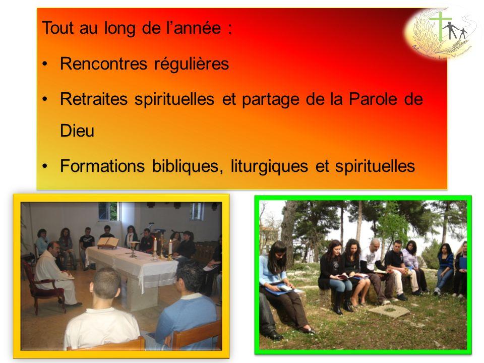 Tout au long de lannée : Rencontres régulières Retraites spirituelles et partage de la Parole de Dieu Formations bibliques, liturgiques et spirituelle