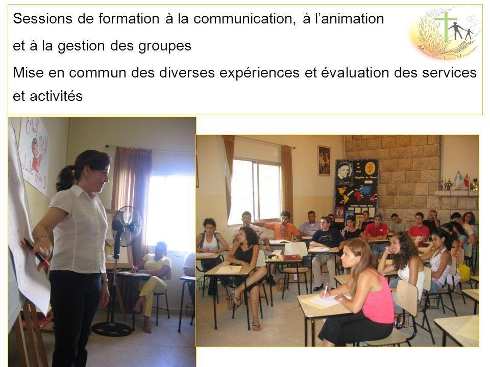 Sessions de formation à la communication, à lanimation et à la gestion des groupes Mise en commun des diverses expériences et évaluation des services