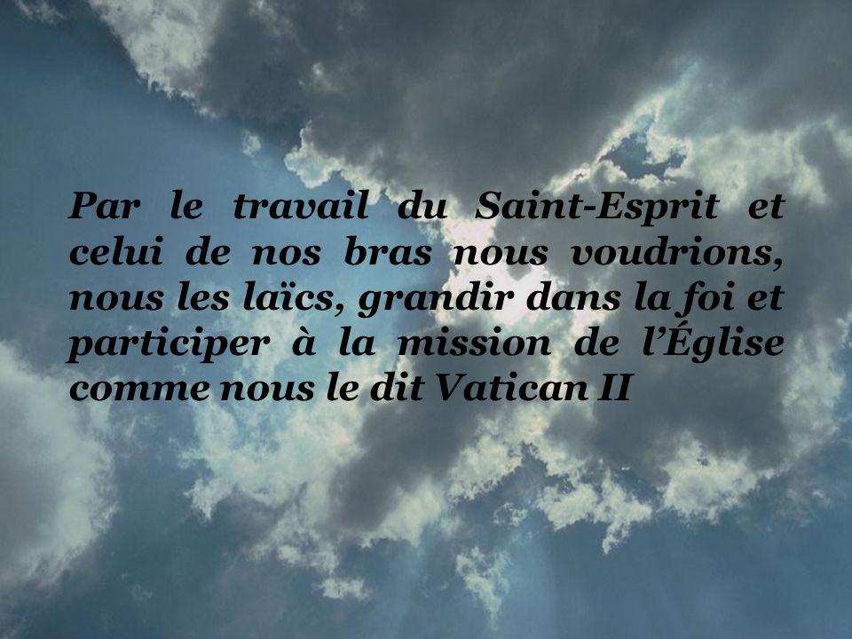 Par le travail du Saint-Esprit et celui de nos bras nous voudrions, nous les laïcs, grandir dans la foi et participer à la mission de lÉglise comme nous le dit Vatican II