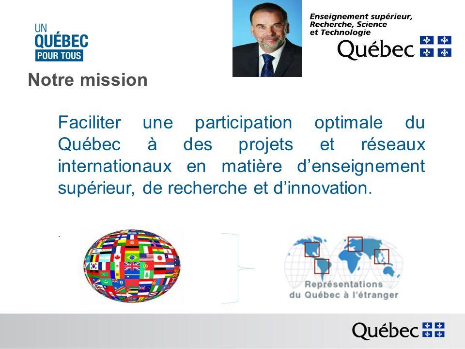 Notre mission Faciliter une participation optimale du Québec à des projets et réseaux internationaux en matière denseignement supérieur, de recherche