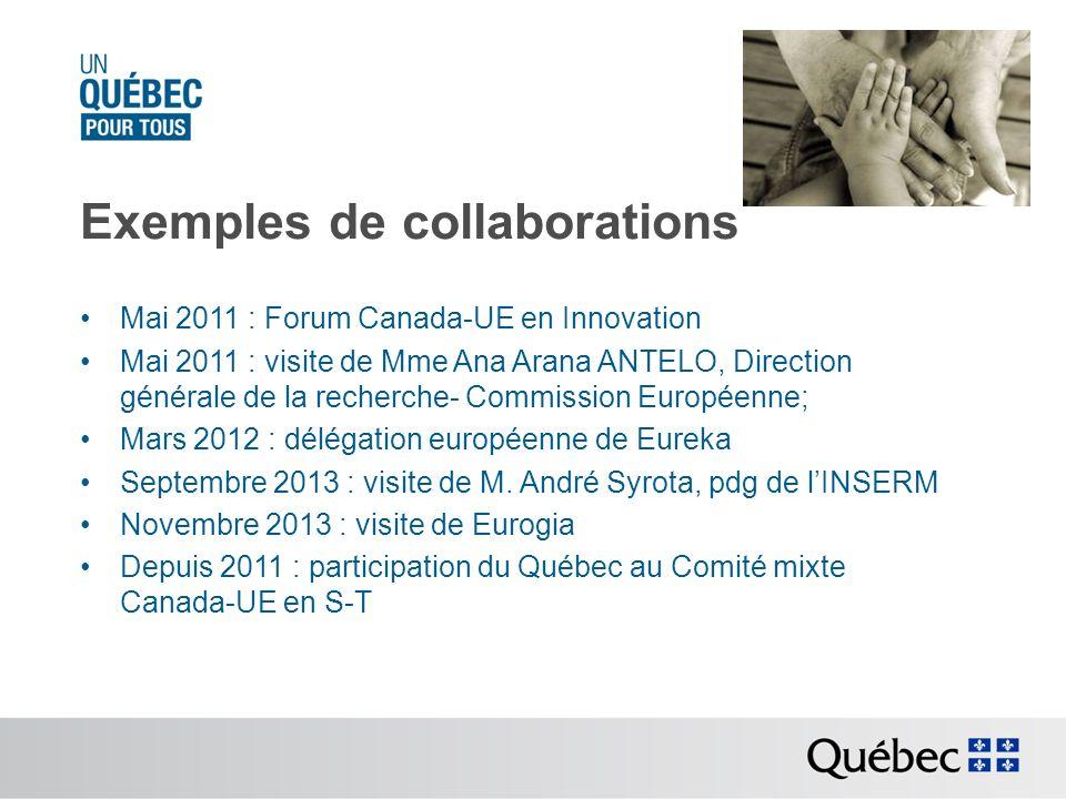 Exemples de collaborations Mai 2011 : Forum Canada-UE en Innovation Mai 2011 : visite de Mme Ana Arana ANTELO, Direction générale de la recherche- Com