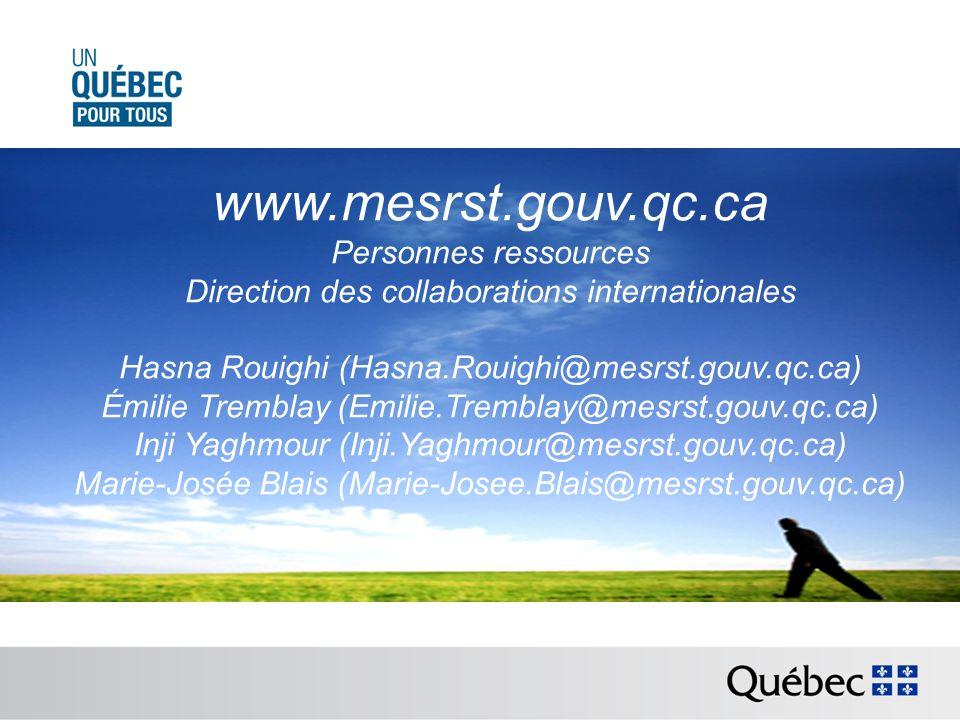 www.mesrst.gouv.qc.ca Personnes ressources Direction des collaborations internationales Hasna Rouighi (Hasna.Rouighi@mesrst.gouv.qc.ca) Émilie Trembla