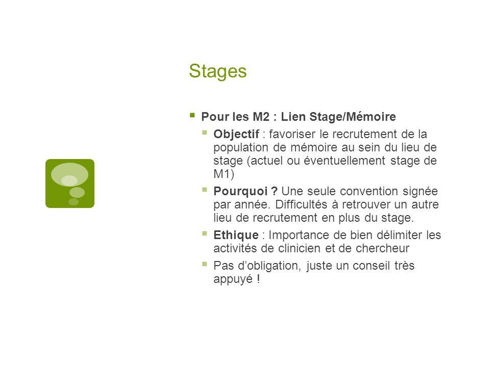 Stages Pour les M2 : Lien Stage/Mémoire Objectif : favoriser le recrutement de la population de mémoire au sein du lieu de stage (actuel ou éventuelle
