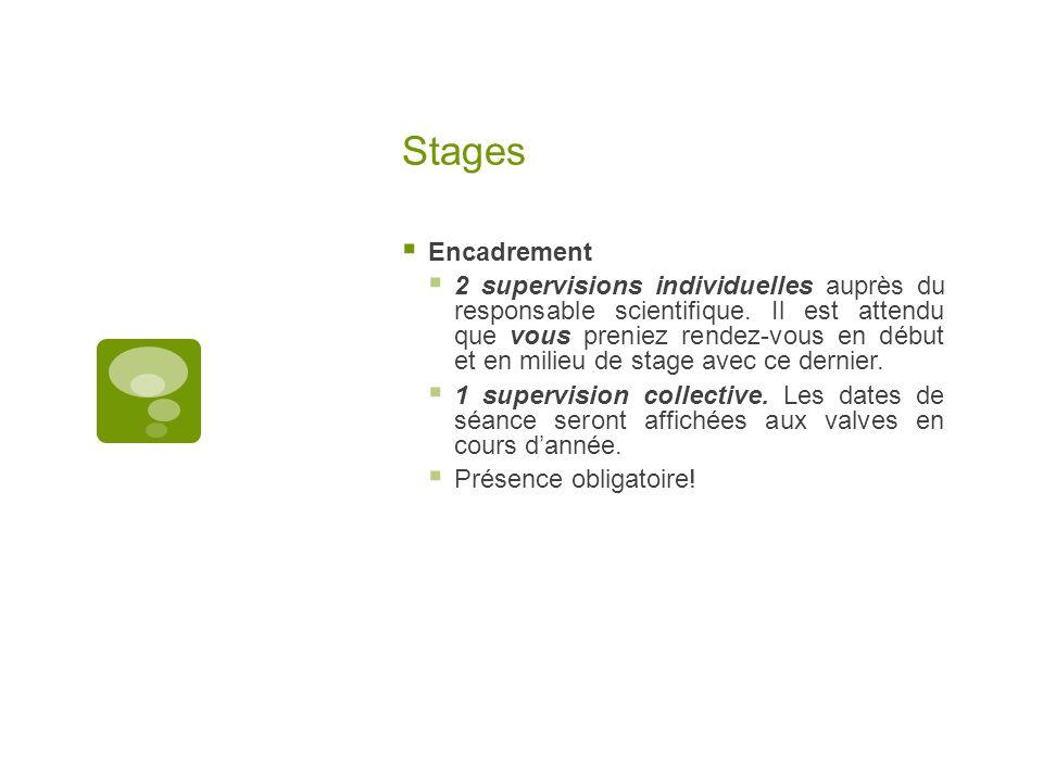 Stages Encadrement 2 supervisions individuelles auprès du responsable scientifique. Il est attendu que vous preniez rendez-vous en début et en milieu