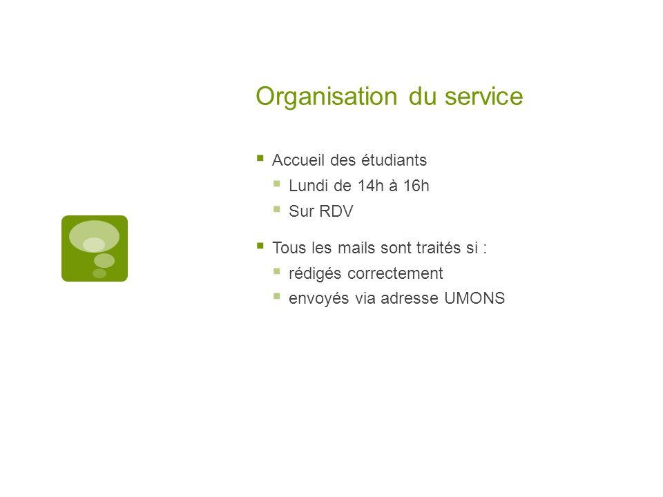 Organisation du service Accueil des étudiants Lundi de 14h à 16h Sur RDV Tous les mails sont traités si : rédigés correctement envoyés via adresse UMO