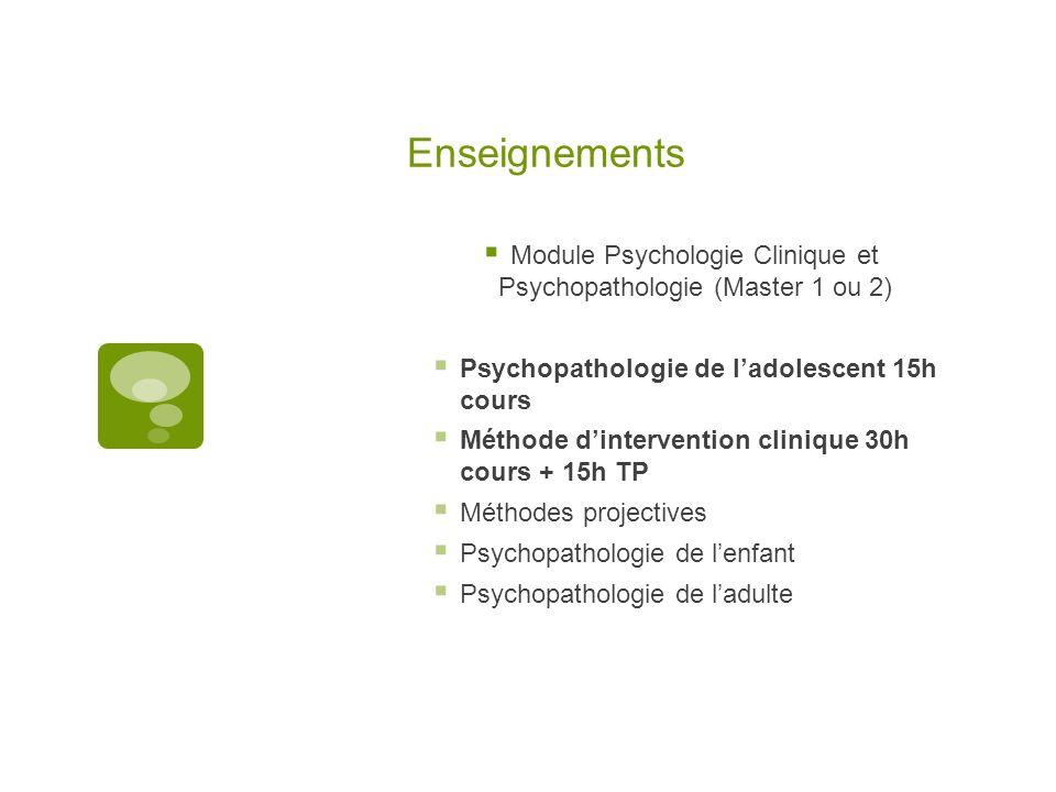 Enseignements Module Psychologie Clinique et Psychopathologie (Master 1 ou 2) Psychopathologie de ladolescent 15h cours Méthode dintervention clinique
