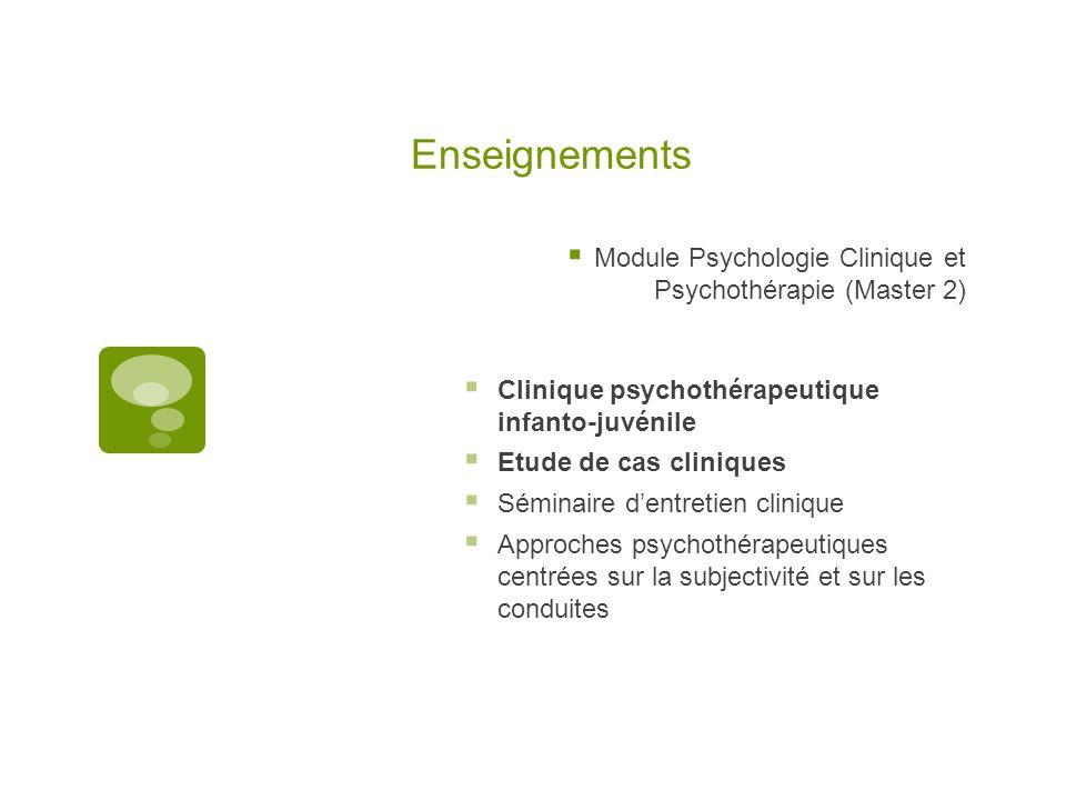 Enseignements Module Psychologie Clinique et Psychothérapie (Master 2) Clinique psychothérapeutique infanto-juvénile Etude de cas cliniques Séminaire