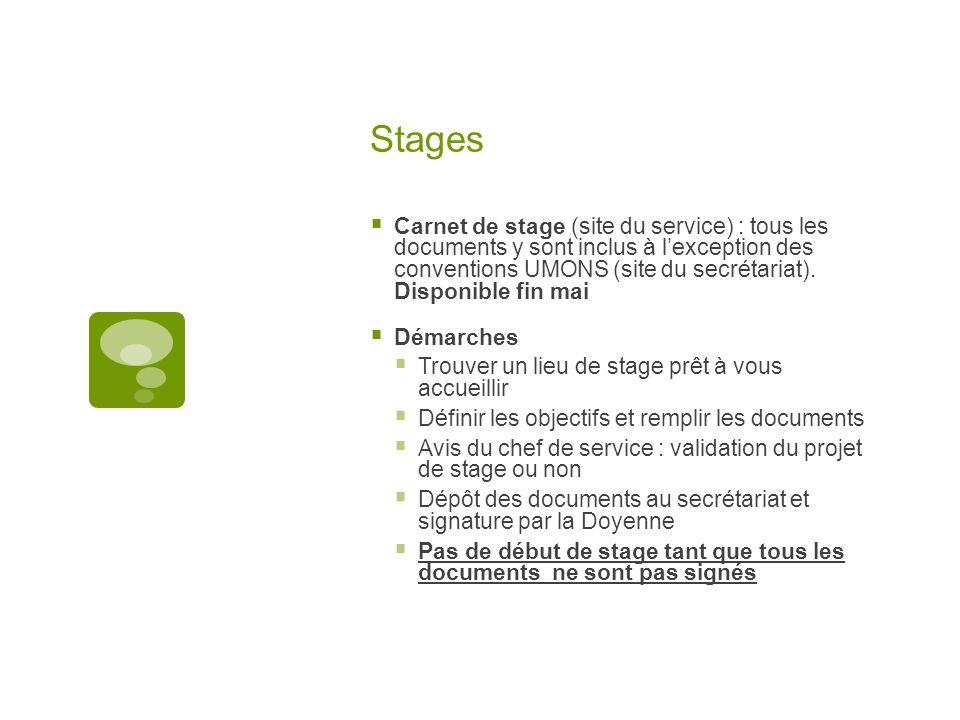 Stages Carnet de stage (site du service) : tous les documents y sont inclus à lexception des conventions UMONS (site du secrétariat). Disponible fin m