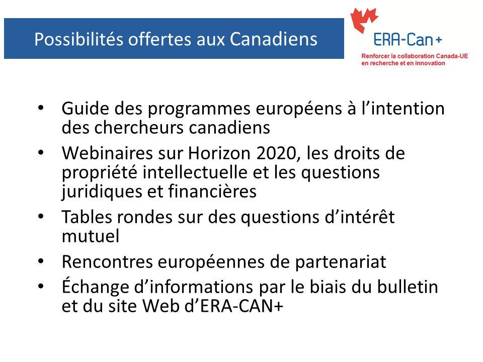 Possibilités offertes aux Canadiens Guide des programmes européens à lintention des chercheurs canadiens Webinaires sur Horizon 2020, les droits de propriété intellectuelle et les questions juridiques et financières Tables rondes sur des questions dintérêt mutuel Rencontres européennes de partenariat Échange dinformations par le biais du bulletin et du site Web dERA-CAN+