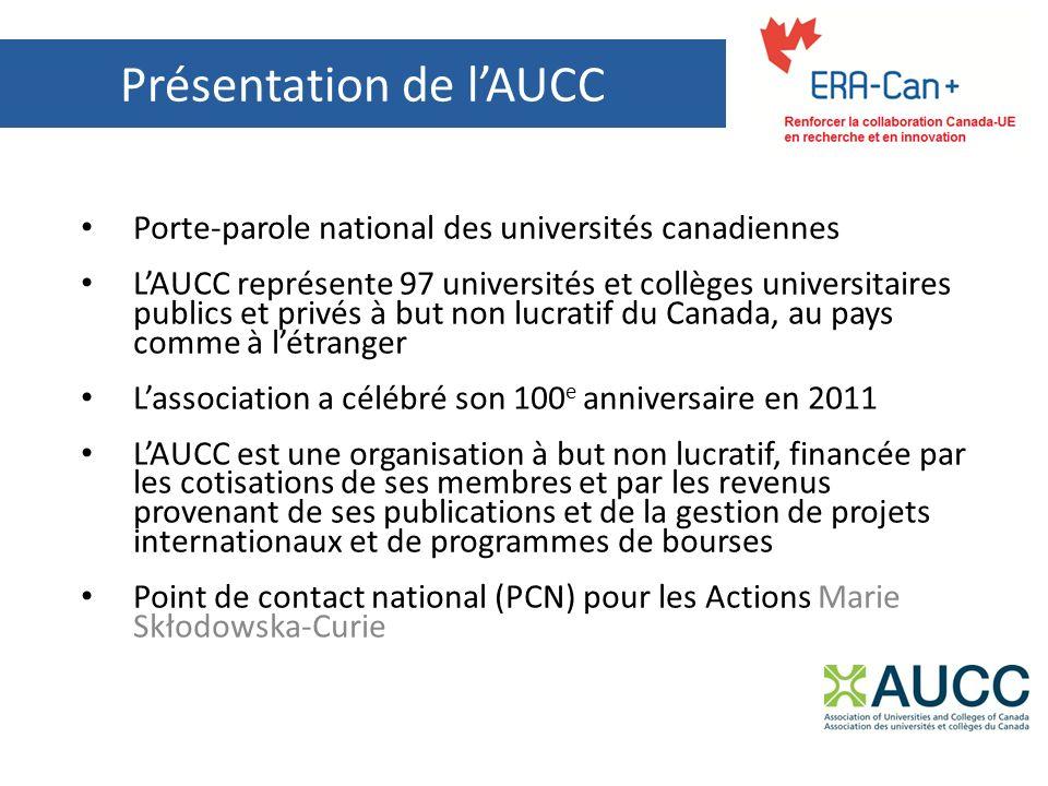 Présentation de lAUCC Porte-parole national des universités canadiennes LAUCC représente 97 universités et collèges universitaires publics et privés à but non lucratif du Canada, au pays comme à létranger Lassociation a célébré son 100 e anniversaire en 2011 LAUCC est une organisation à but non lucratif, financée par les cotisations de ses membres et par les revenus provenant de ses publications et de la gestion de projets internationaux et de programmes de bourses Point de contact national (PCN) pour les Actions Marie Skłodowska-Curie