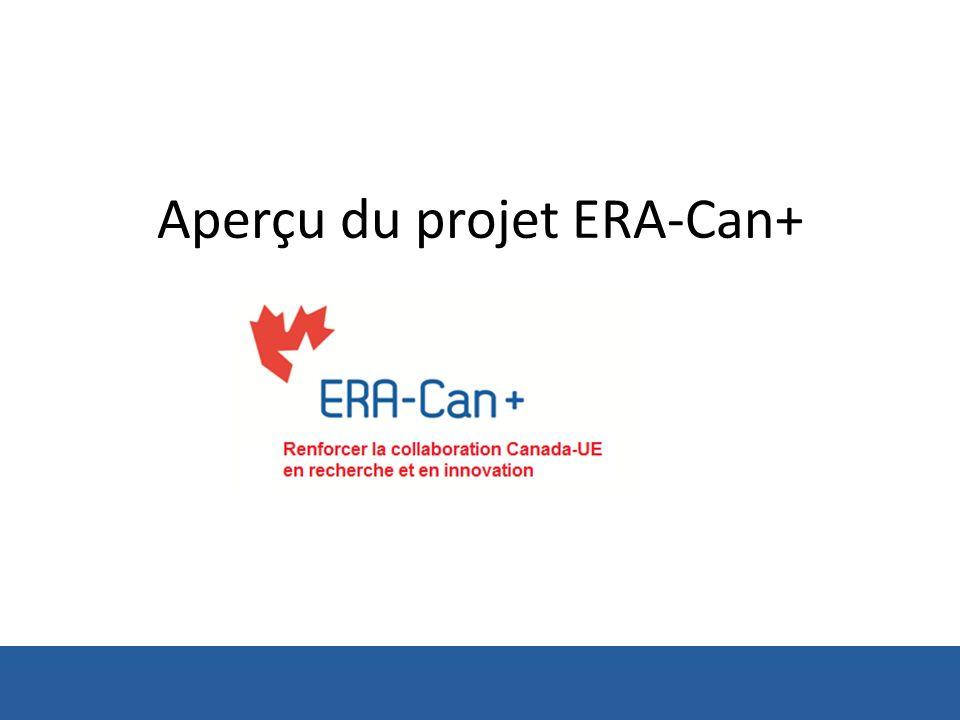 Objectifs du Projet ERA-Can+ ERA-Can+ vise à promouvoir la coopération entre le Canada et lUE en science, technologie et innovation (STI) afin dappuyer et de stimuler leur prospérité mutuelle, de trouver des solutions à des problèmes de société communs et de leur permettre de relever ensemble les défis mondiaux Doctobre 2013 à septembre 2016 (projet séchelonnant sur 36 mois)