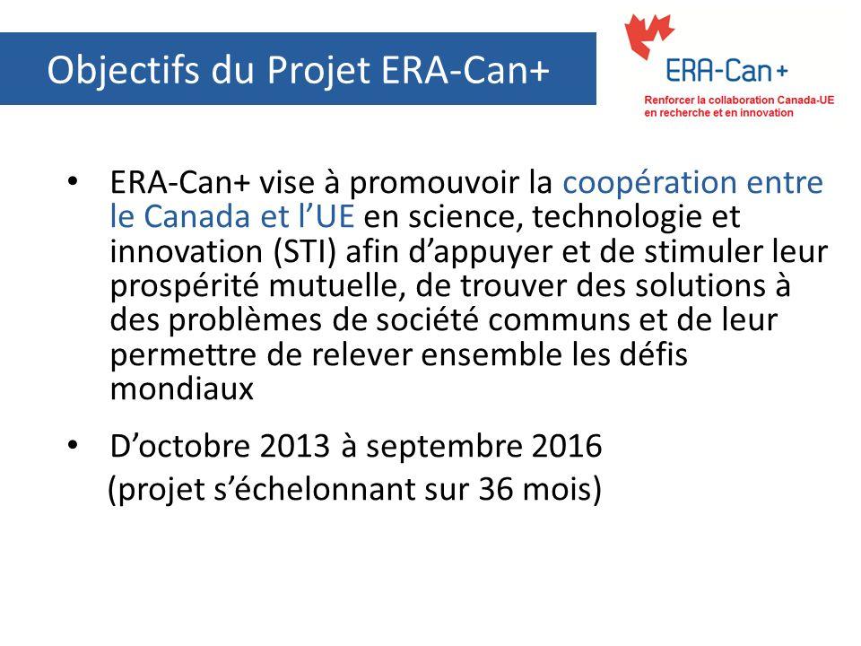Objectifs du Projet ERA-Can+ ERA-Can+ vise à promouvoir la coopération entre le Canada et lUE en science, technologie et innovation (STI) afin dappuye