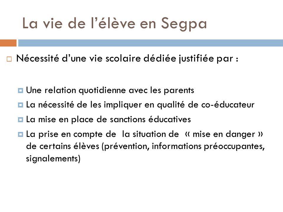 La vie de lélève en Segpa Nécessité dune vie scolaire dédiée justifiée par : Une relation quotidienne avec les parents La nécessité de les impliquer e