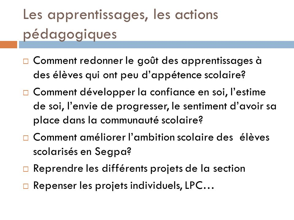 Lorientation des élèves Comment rendre lélève scolarisé en Segpa acteur de son orientation.