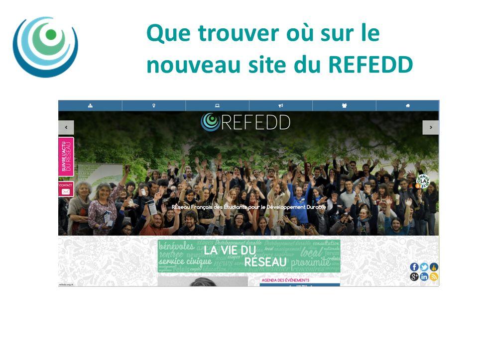 Que trouver où sur le nouveau site du REFEDD